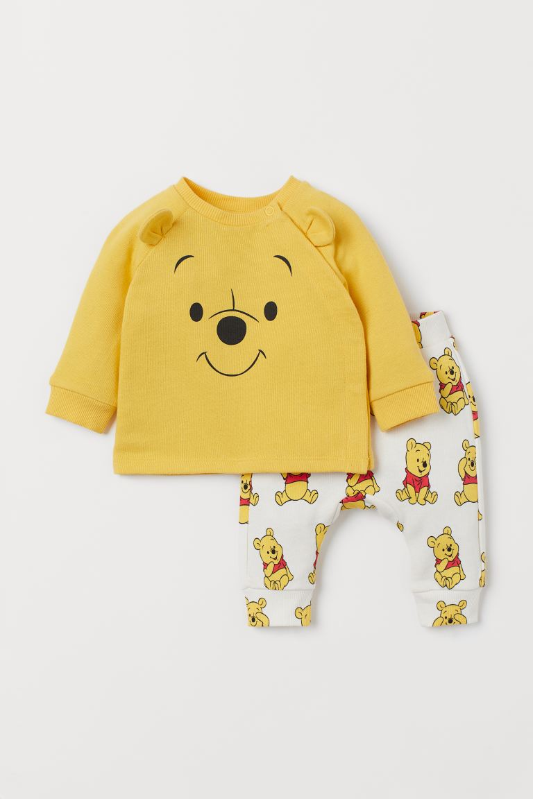 Sweatshirt and joggers - Yellow/Winnie the Pooh - Kids | H&M GB