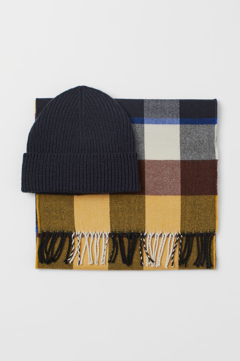 Hat and scarf - Dark blue/Yellow - Men | H&M IE