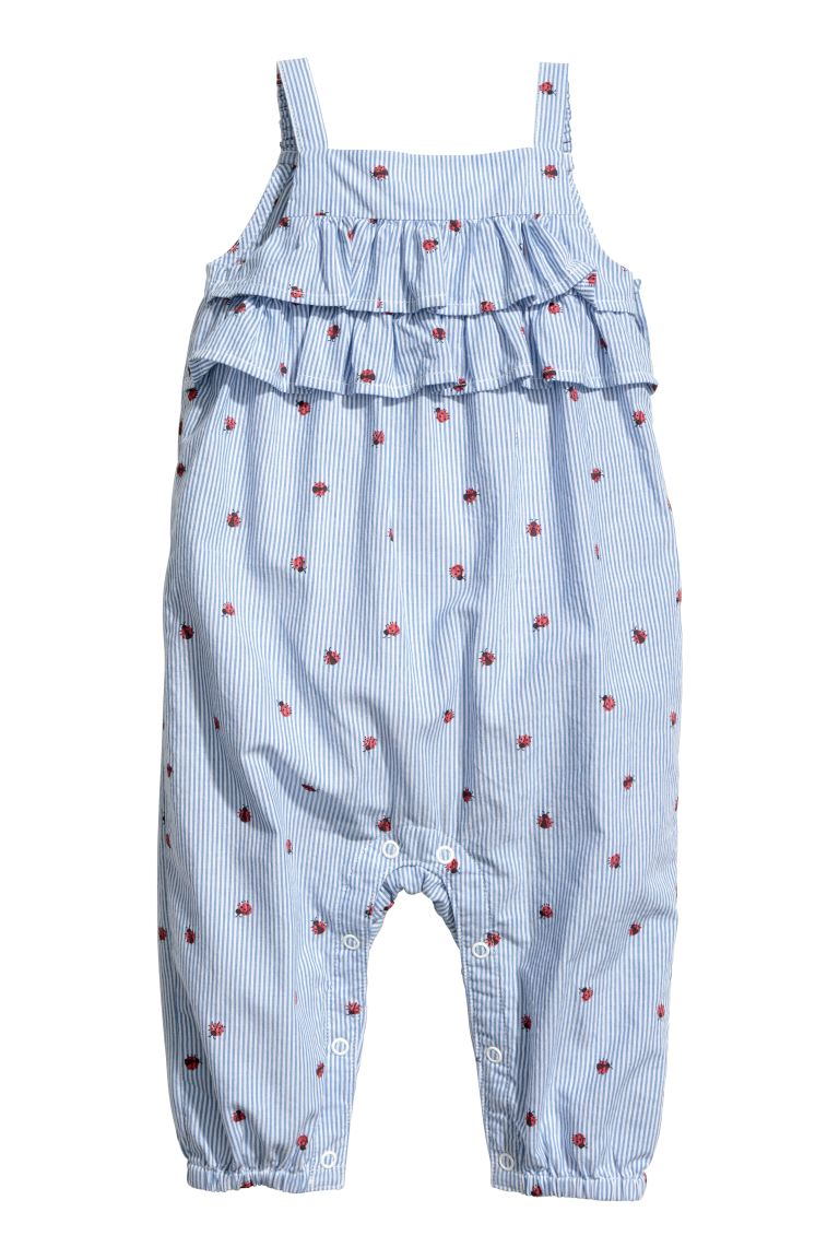 Ruffled Cotton Romper - Blue/white striped - Kids | H&M CA