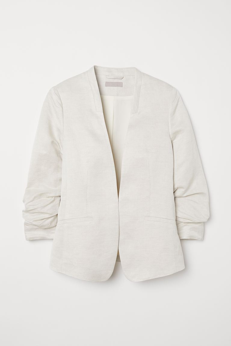 Linen-blend Jacket - Cream - Ladies | H&M US