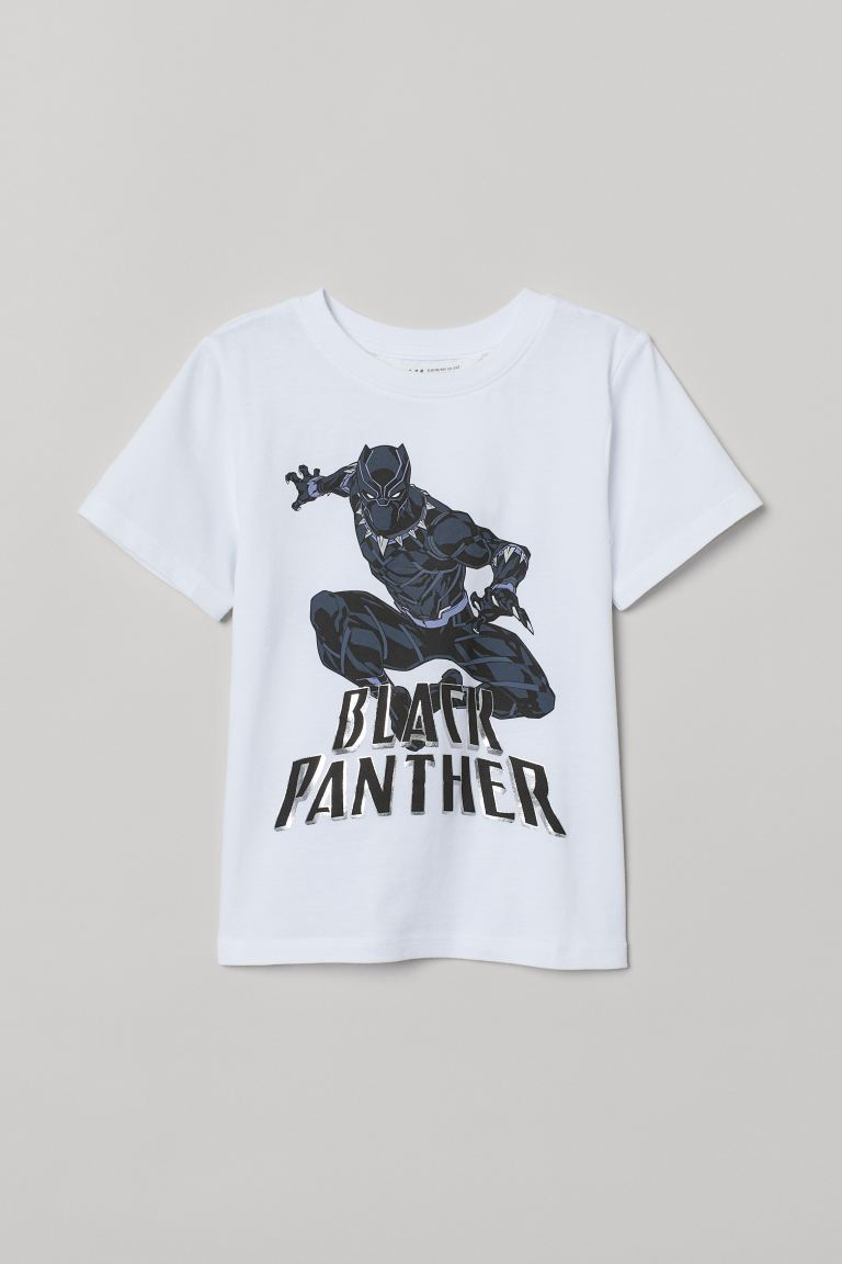 Printed T-shirt - White/Black Panther - Kids | H&M GB