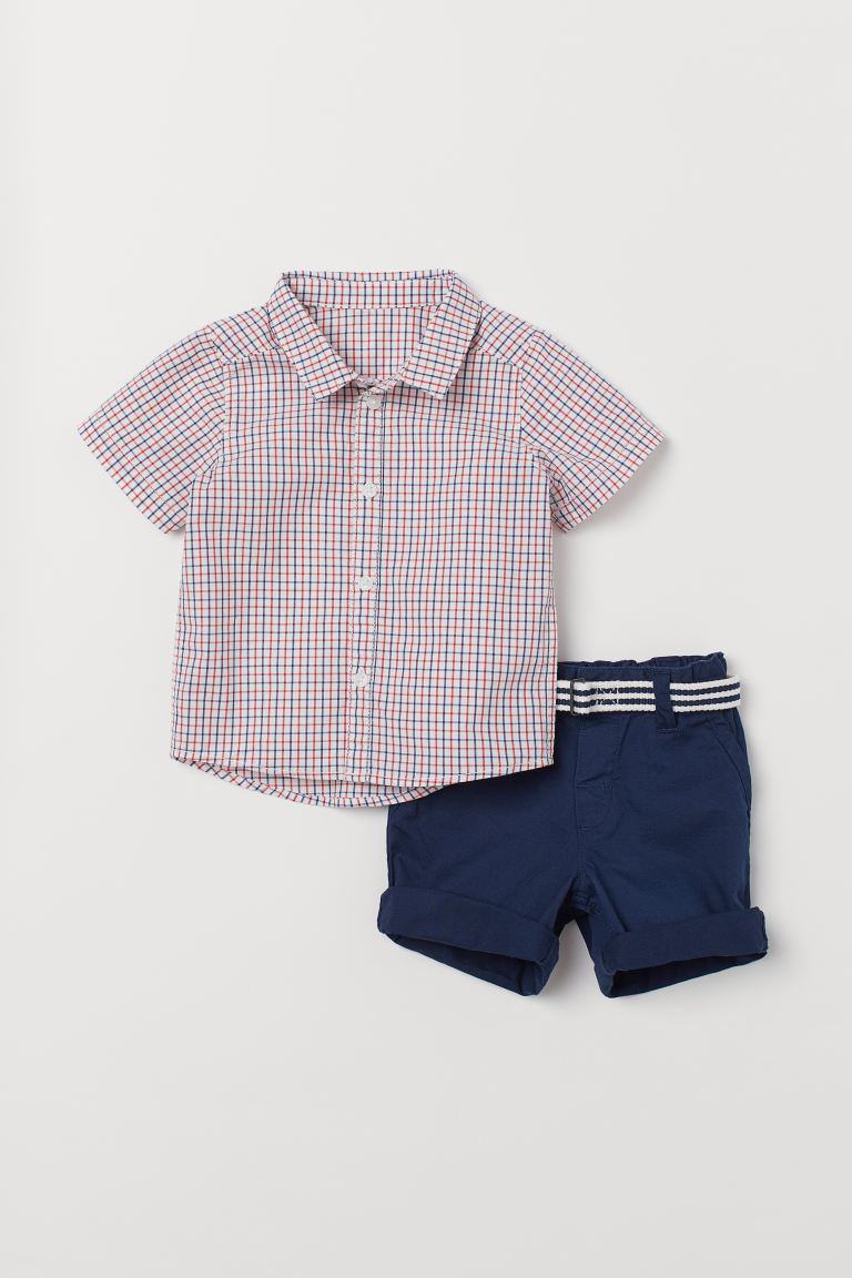 Shirt and shorts - Dark blue/Checked - Kids | H&M