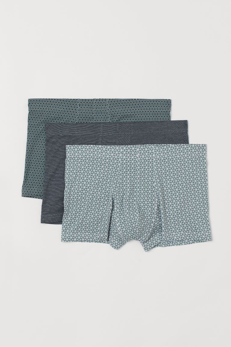 3-pack short trunks - Sage green/Patterned - Men | H&M