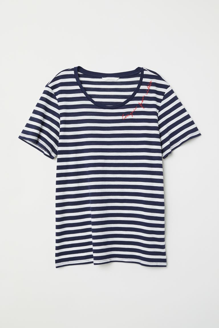 T-shirt con motivo - Blu scuro/bianco righe - DONNA | H&M IT