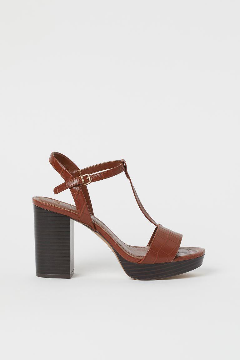 Platform Sandals - Brown/crocodile-patterned - Ladies | H&M US