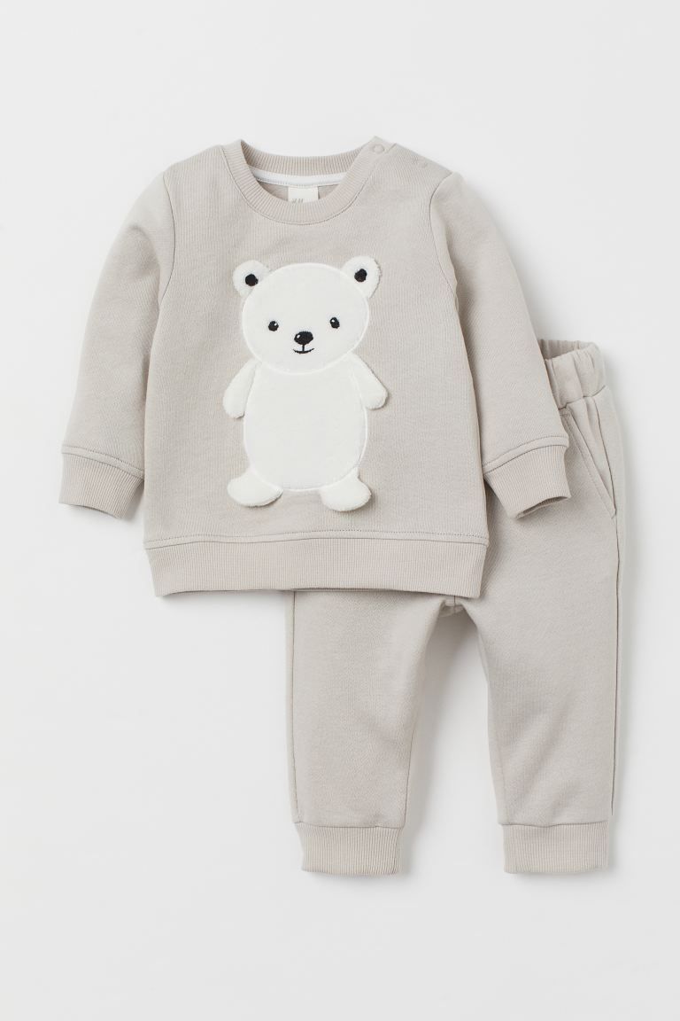 2-piece set - Light greige/Polar bear - Kids | H&M GB