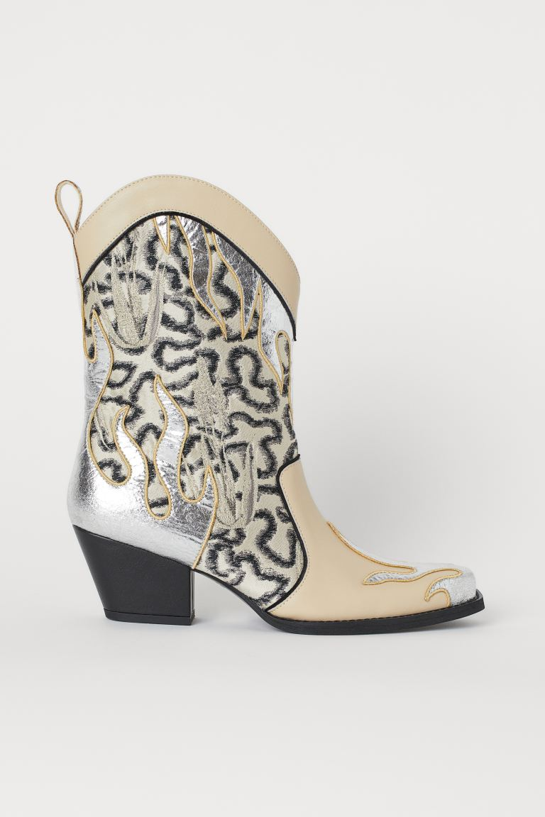 Jacquard-patterned boots - Light beige/Silver-coloured - Ladies | H&M GB