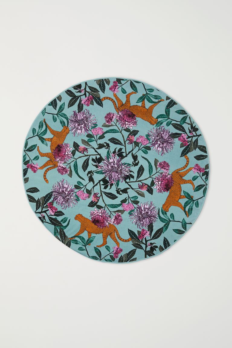 Round Beach Towel - Turquoise/patterned - Home All | H&M US