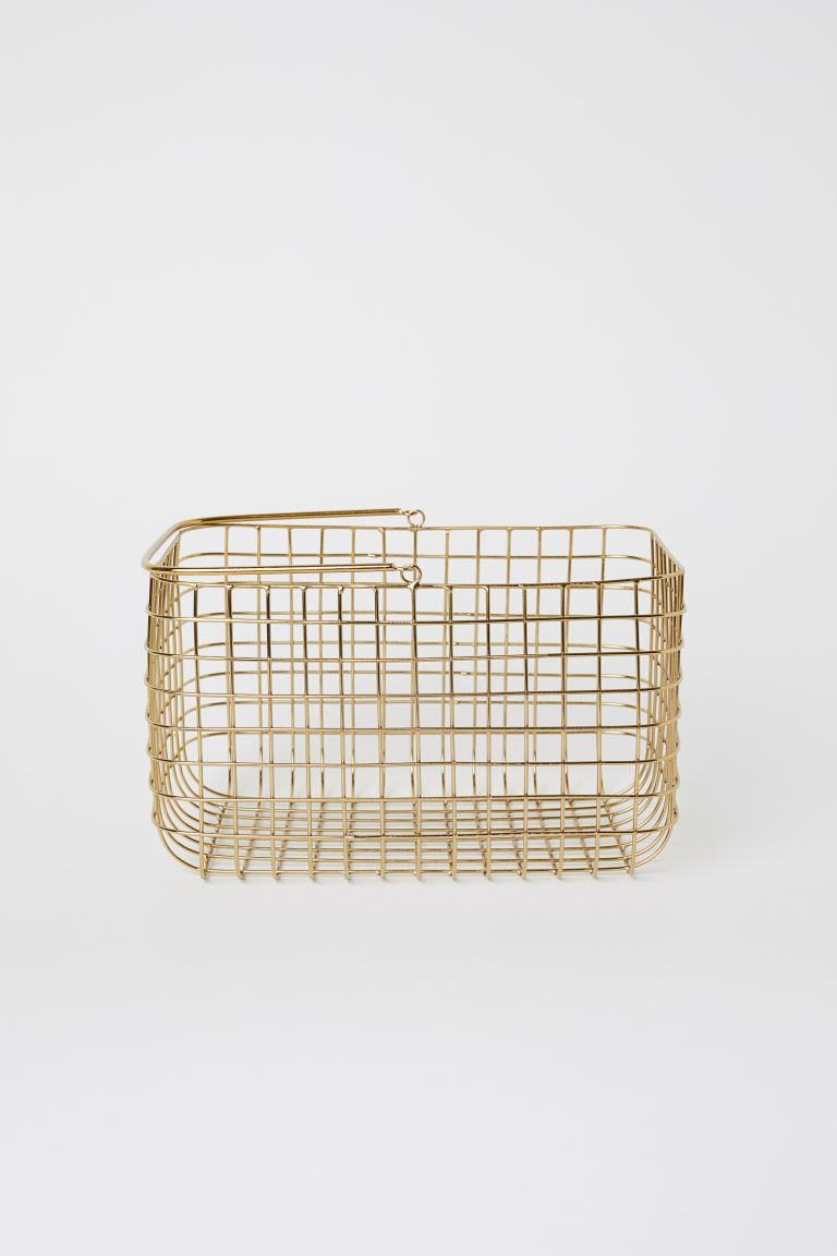 Metal Wire Basket with Handle - Gold-colored - Home All | H&M US