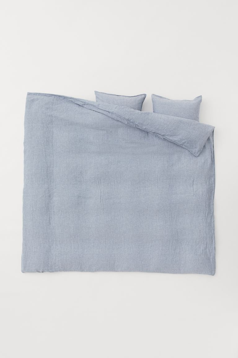 Melange Linen Duvet Cover Set - Light blue melange - Home All | H&M US