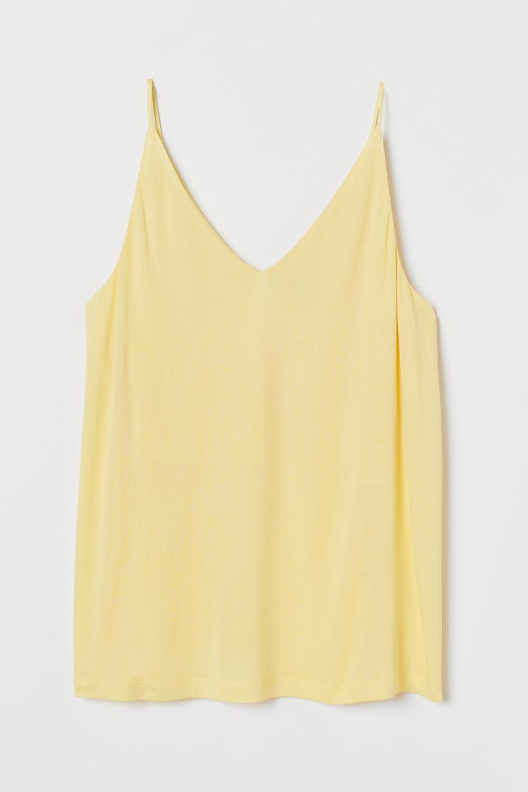 V-neck strappy top - Light yellow - Ladies | H&M