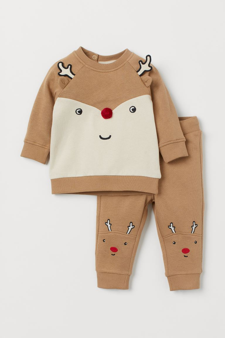 2-piece set - Beige/Reindeer - Kids | H&M GB