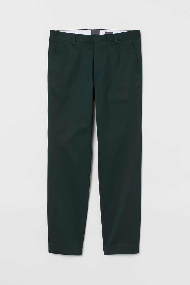 Cotton chinos Slim Fit - Dark green - Men | H&M