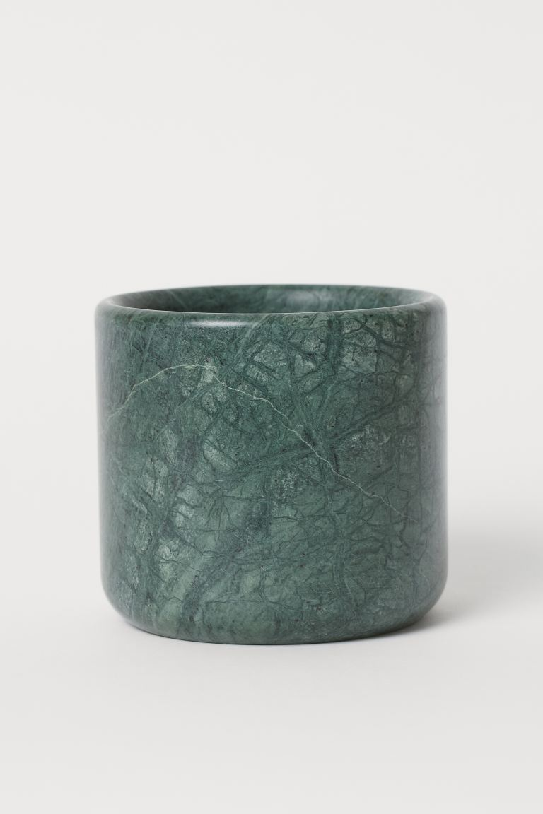Marble plant pot - Dark green - Home All | H&M IE