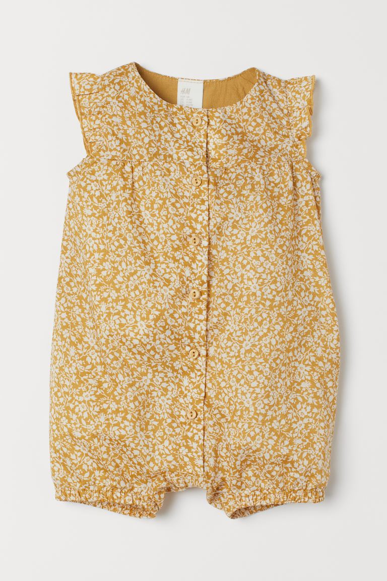 Cotton Romper - Dark yellow/flowers - Kids | H&M US