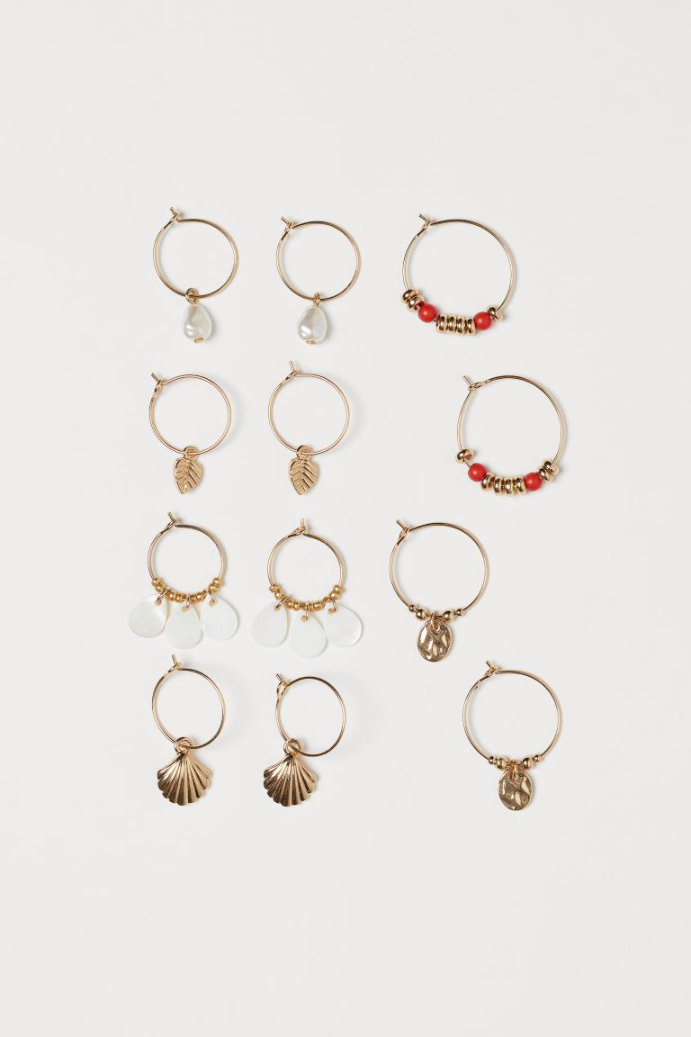 6 Pairs Hoop Earrings - Gold-colored - Ladies | H&M US