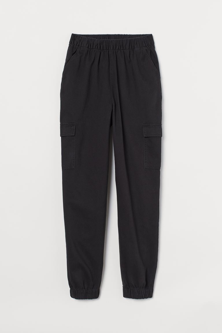 Twill cargo trousers - Black - Ladies | H&M