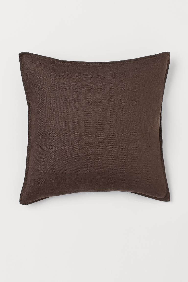 Washed Linen Cushion Cover - Dark brown - Home All | H&M US