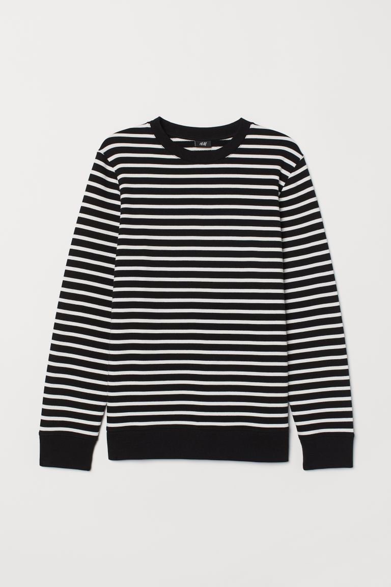 Striped Sweatshirt - Black/white striped - Men | H&M US