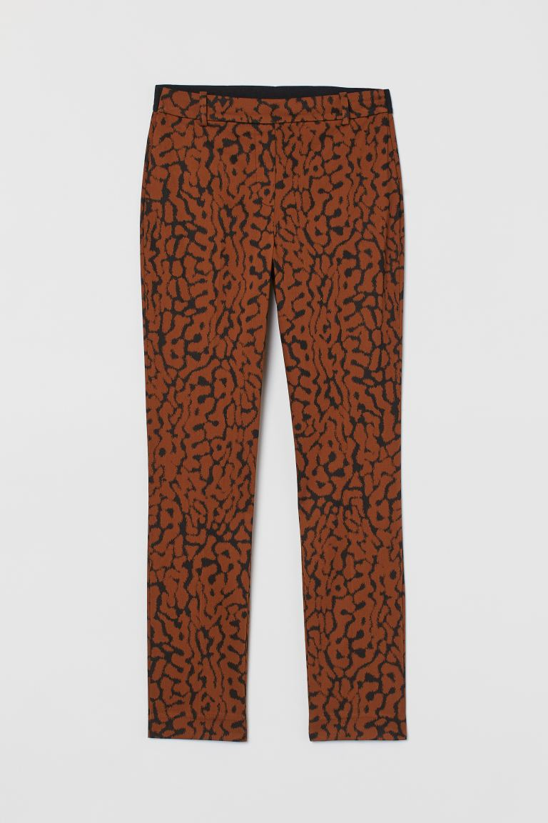 Ankle-length trousers - Brown/Leopard print - Ladies | H&M GB