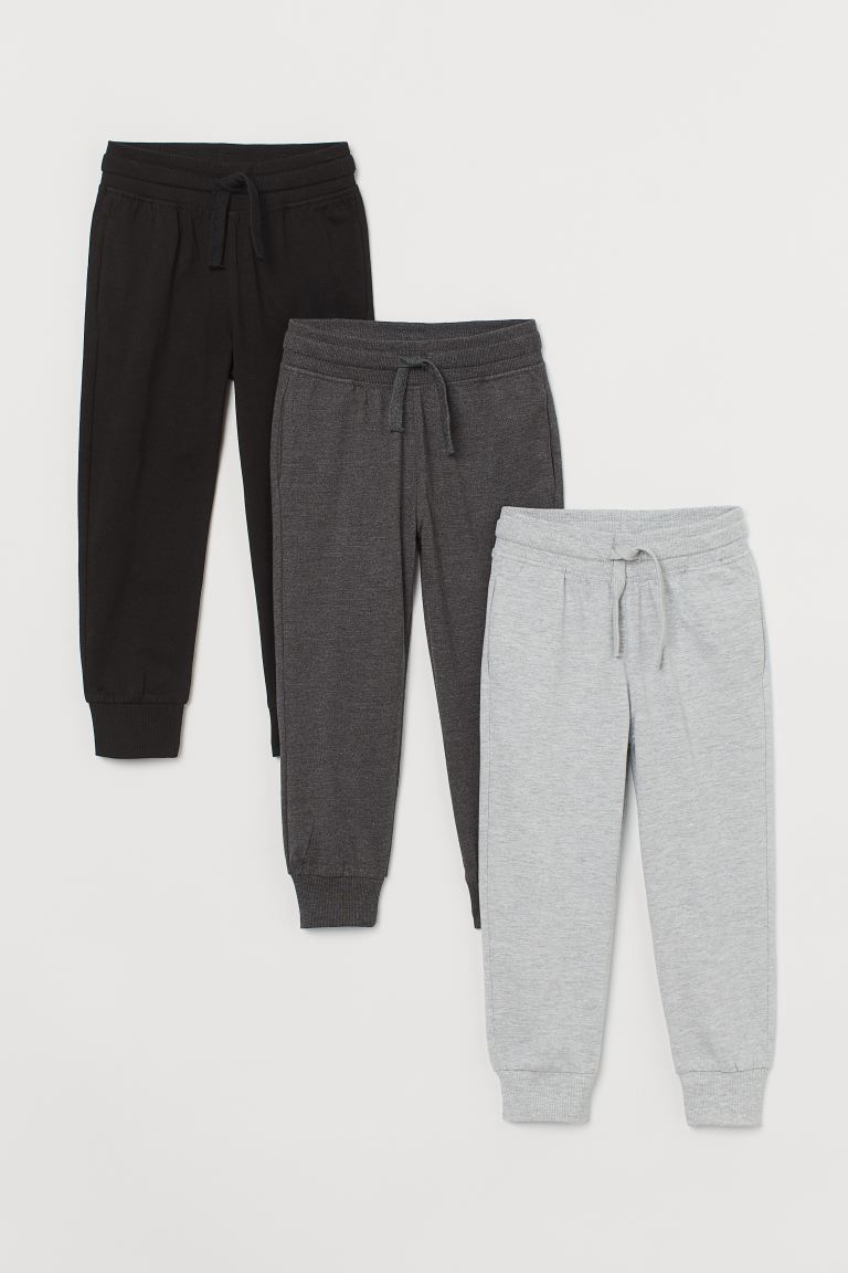 3-pack joggers - Black/Dark grey marl - Kids | H&M