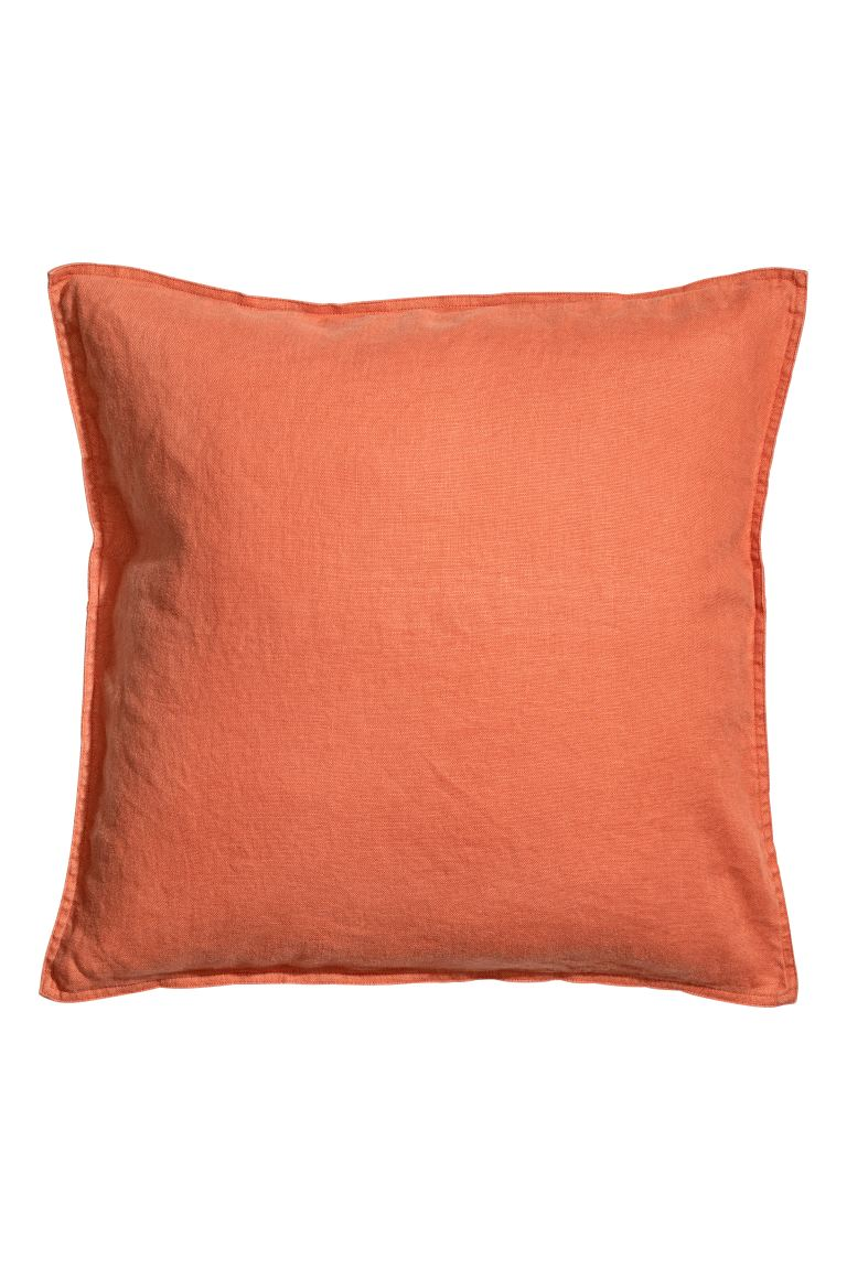 Housse de coussin en lin lavé - Orange - HOME | H&M BE