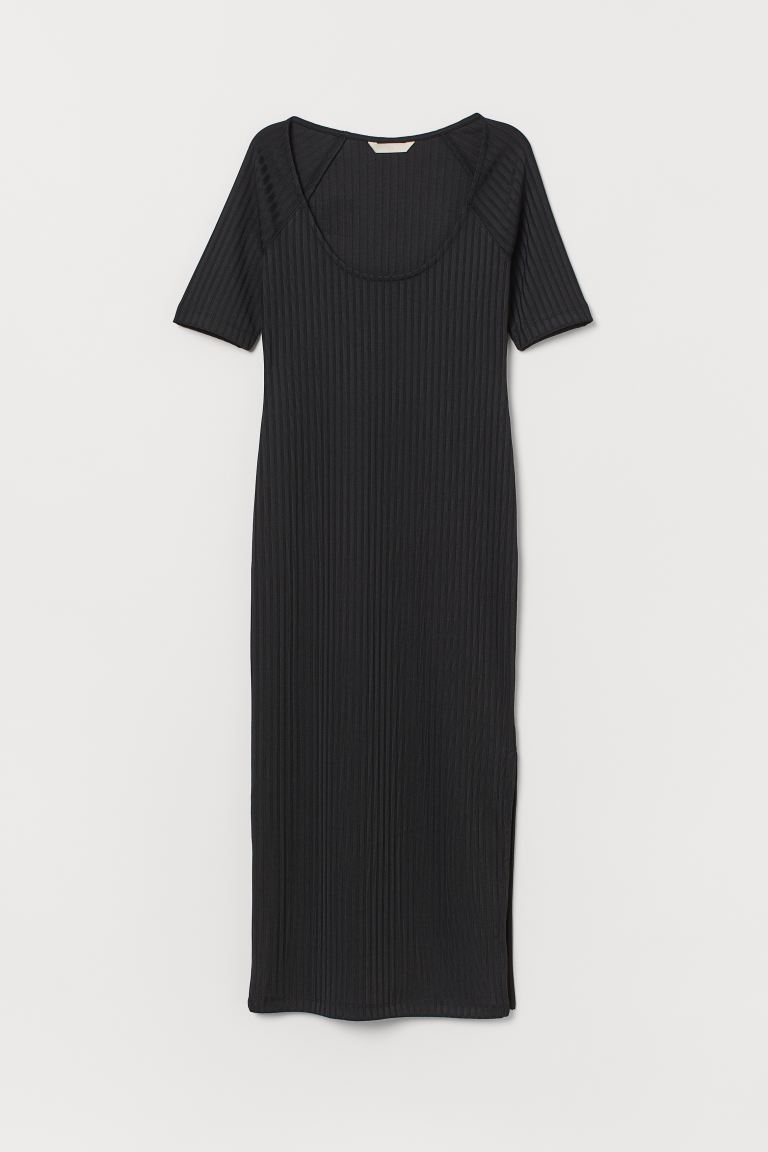 Ribbed dress - Black - Ladies | H&M
