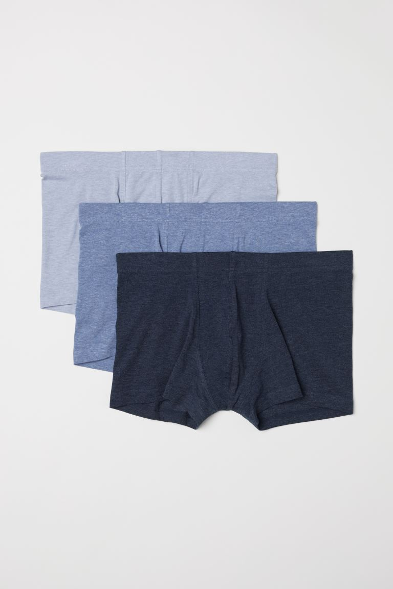 Boxers courts, lot de 3 - Bleu chiné/multicolore - HOMME | H&M FR