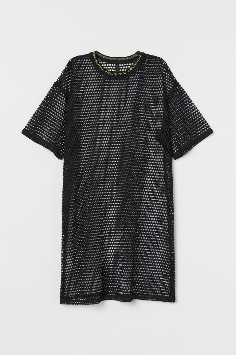 Printed T-shirt dress - Black/Mesh - Ladies | H&M GB