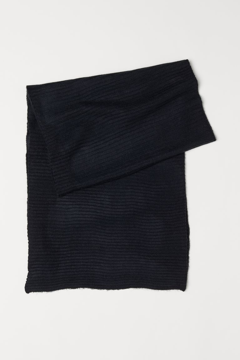 Ribbed Scarf - Black - Ladies | H&M US