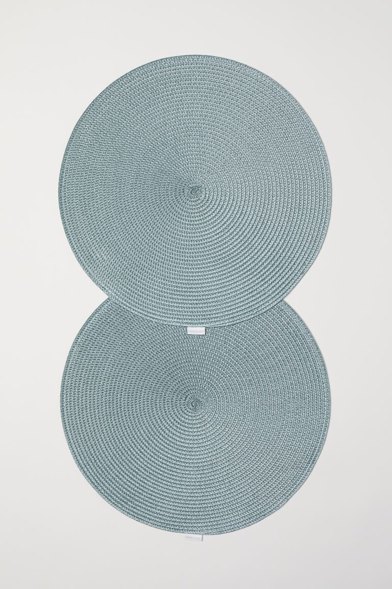 2-pack Round Placemats - Dusky green - Home All | H&M CA