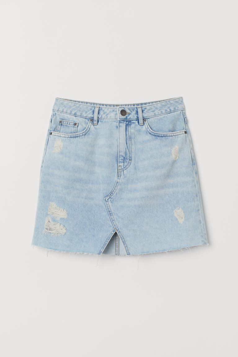 Denim skirt - Pale denim blue/Trashed - Ladies | H&M GB