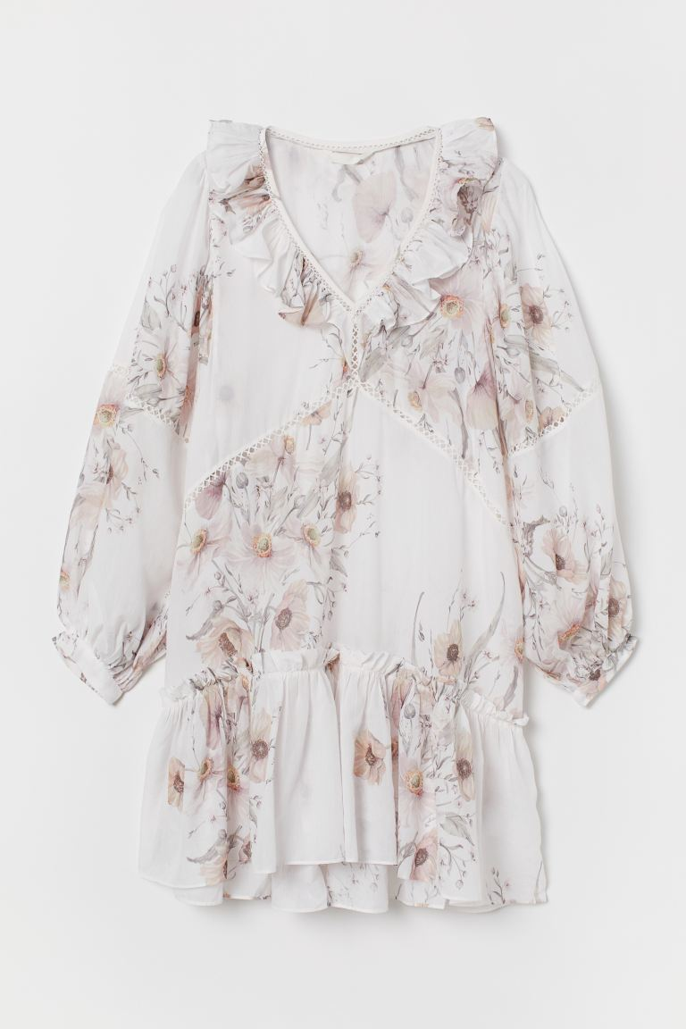 Flounced dress - White/Floral - Ladies | H&M GB