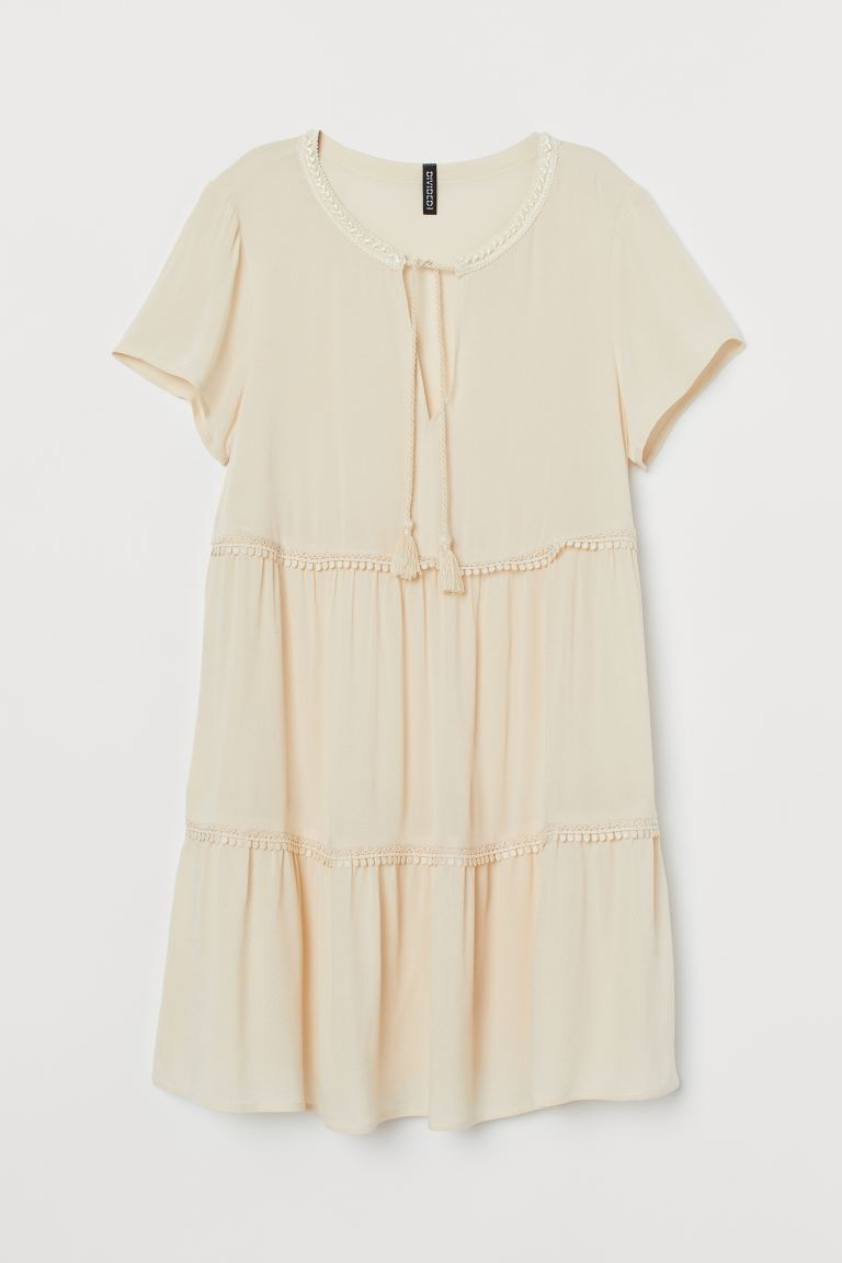 Lace Detail Crêpe Dress - Powder beige - Ladies | H&M AU