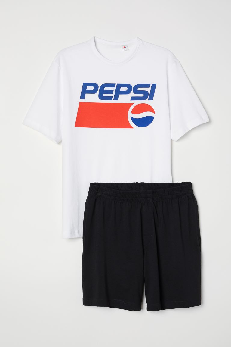 Pyjama T-shirt and shorts - White/Pepsi - Men | H&M