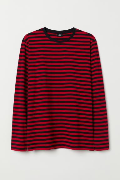 Long-sleeved Cotton Shirt - Red/black striped - Men | H&M US