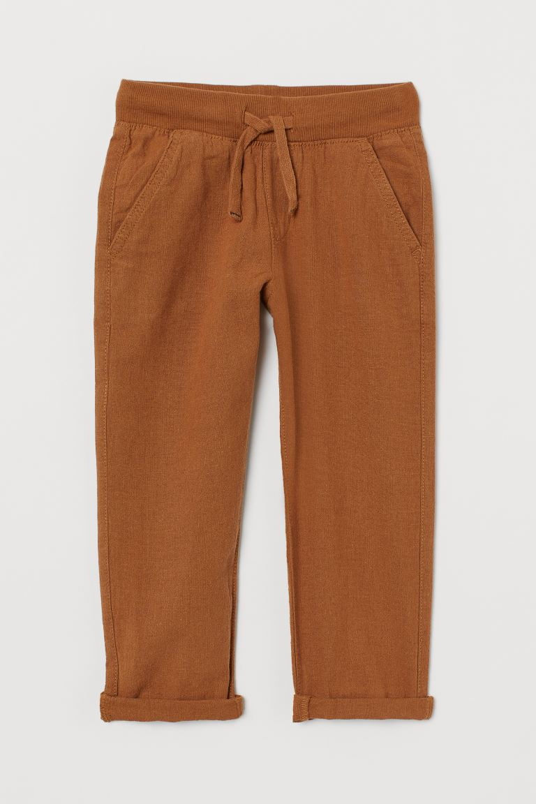 Pull-on linen-blend chinos