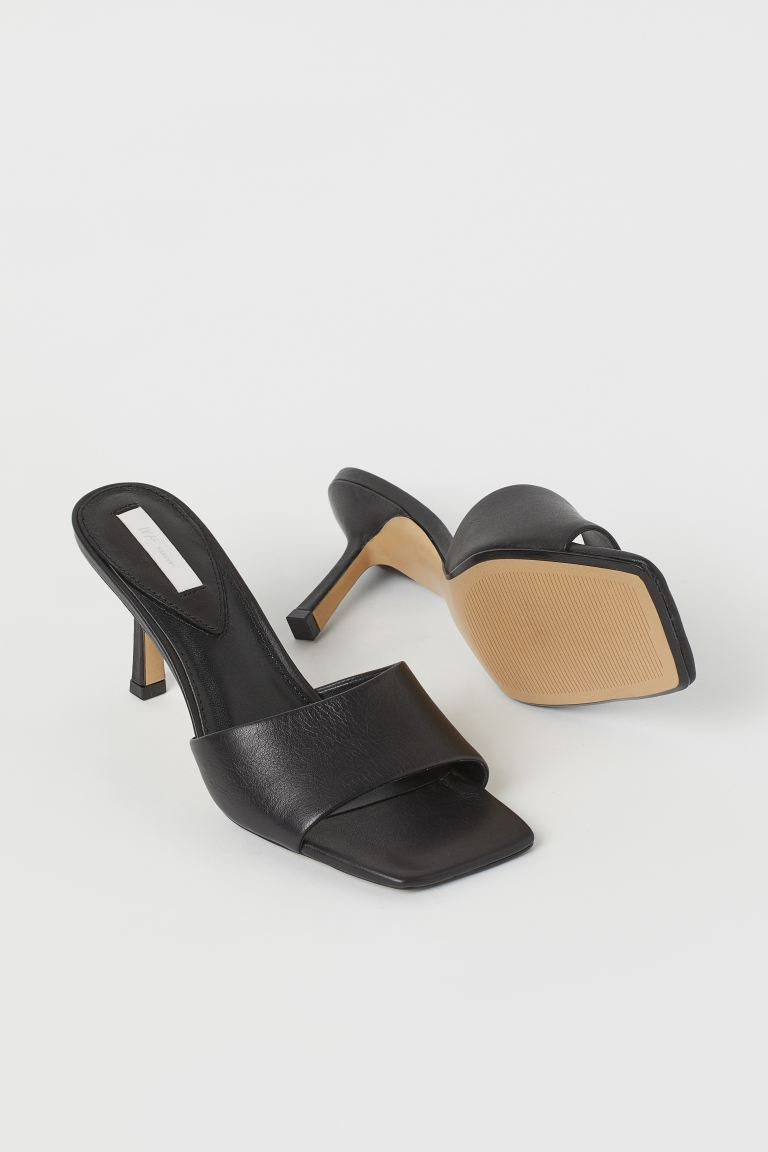 Leather Mules Black