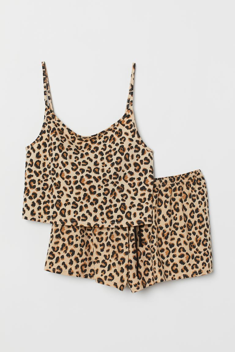 Pajama Camisole Top and Shorts - Beige/leopard print - Ladies | H&M US
