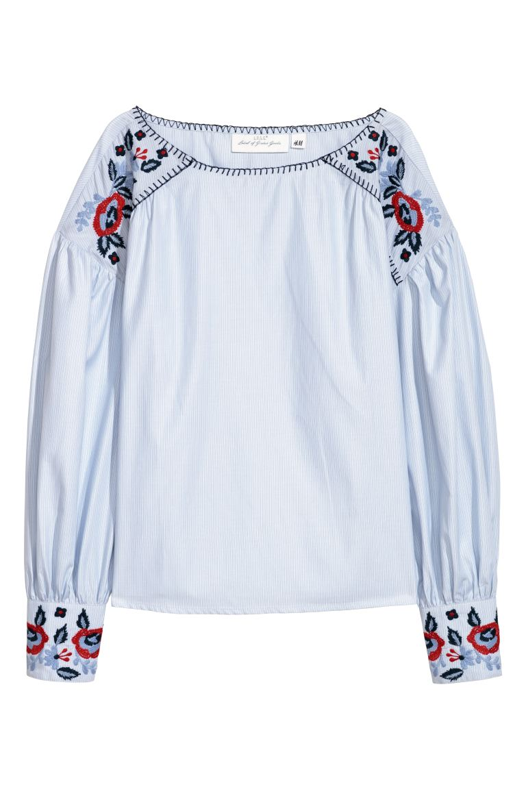 Blouse with embroidery - Light blue - Ladies | H&M GB