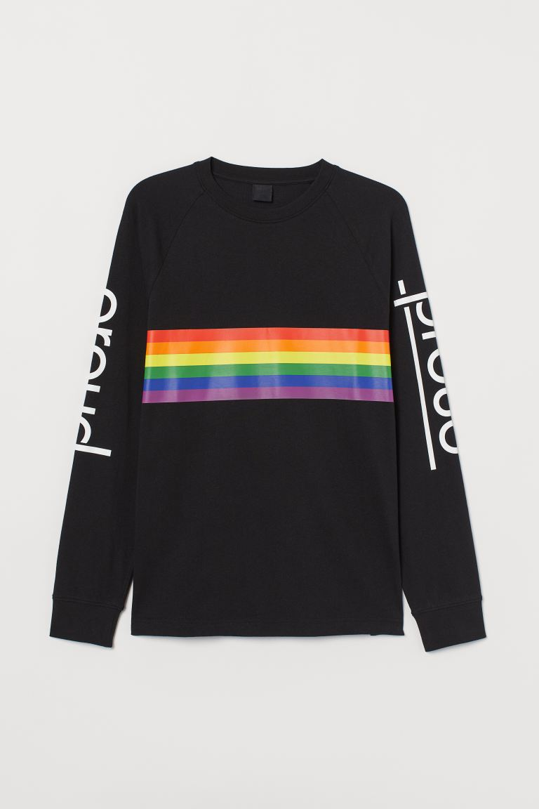 Long-sleeved top - Black/Proud - Men | H&M GB