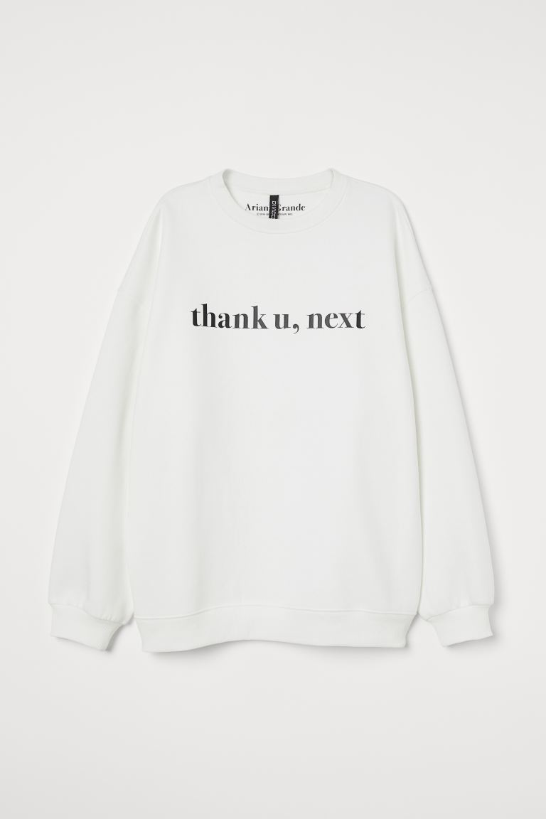 Printed sweatshirt - White/Ariana Grande - Ladies | H&M GB