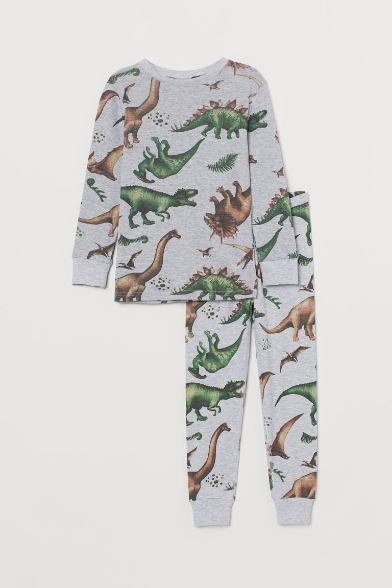 Jersey pyjamas - Light grey marl/Dinosaurs - Kids | H&M