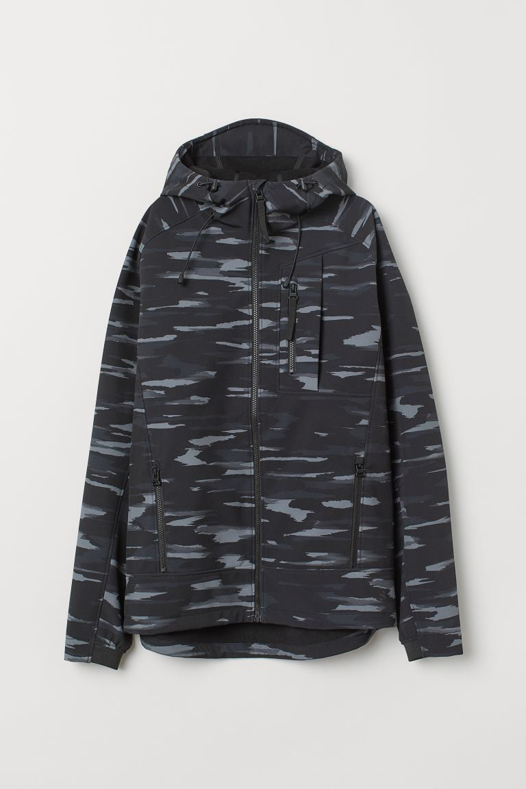 Softshell jacket - Black/Patterned - Men | H&M IN