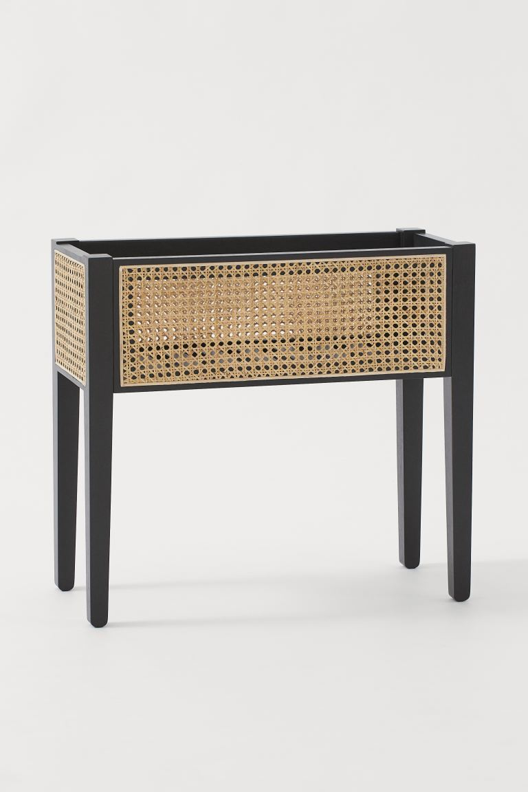 Portavaso con lati in rattan - Nero/rattan - HOME | H&M IT