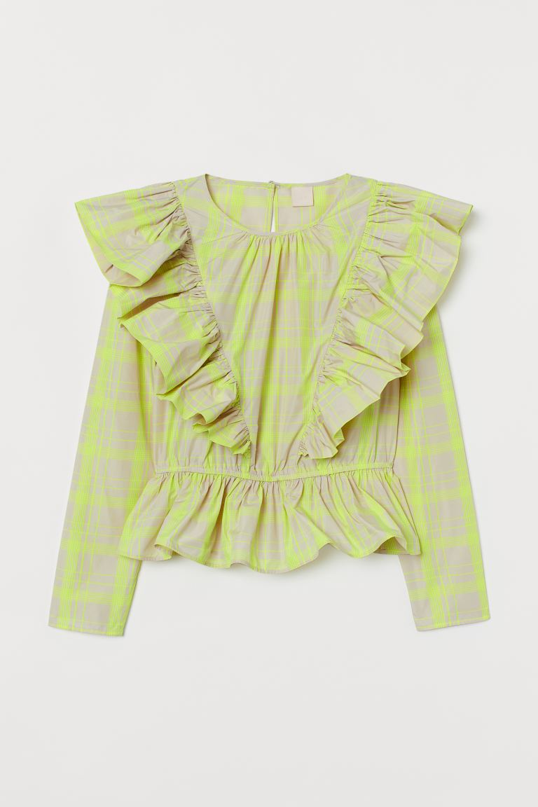 Flounced long-sleeved blouse - Light beige/Neon yellow - Ladies | H&M IE