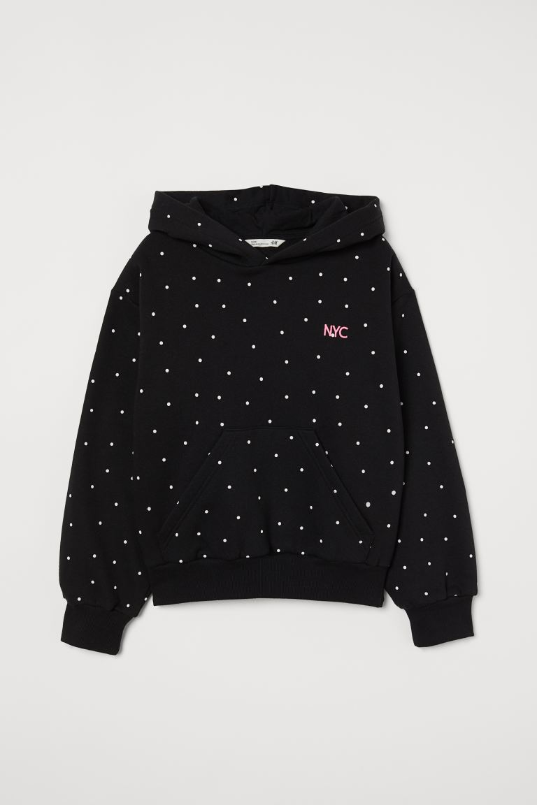 Hooded top - Black/White spotted - Kids | H&M