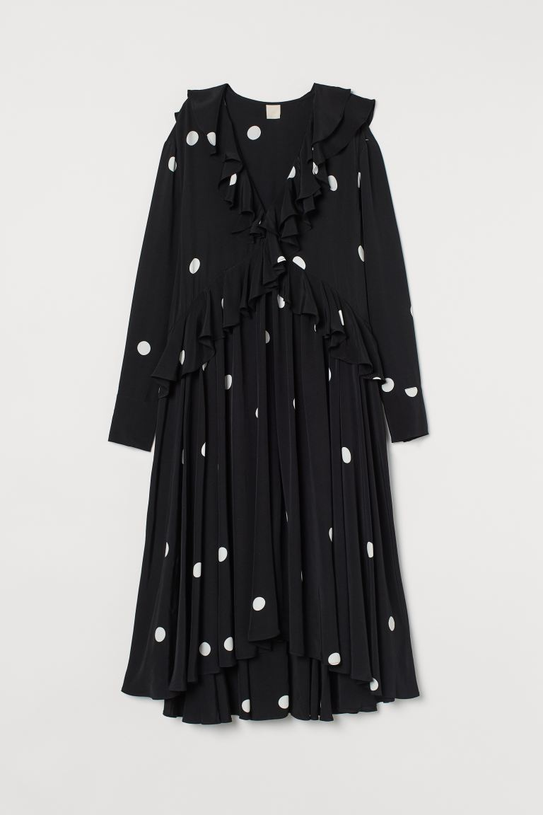 Flounced dress - Black/Spotted -  | H&M IE