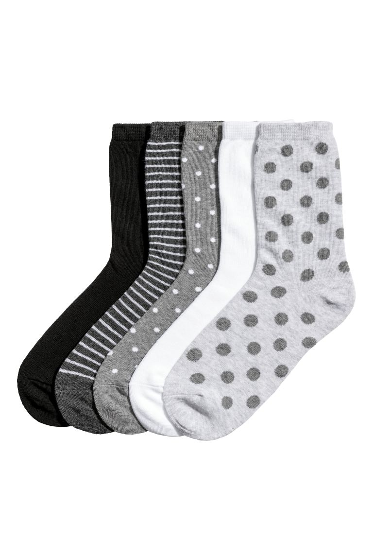 5-pack socks - Grey/white/black - Ladies | H&M CA