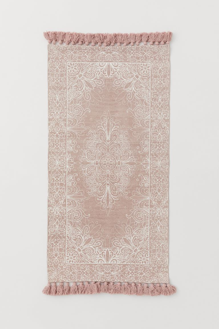 Tasseled Cotton Rug - Powder pink/white patterned - Home All | H&M US